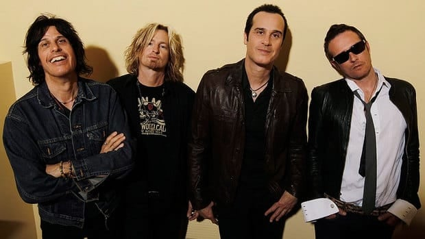 The Stone Temple Pilots, seen in 2010, comprise (from left) Dean Deleo, Eric Kretz, Robert Deleo, and Scott Weiland. The band issued a one-sentence release on Wednesday saying that frontman Weiland had been terminated.