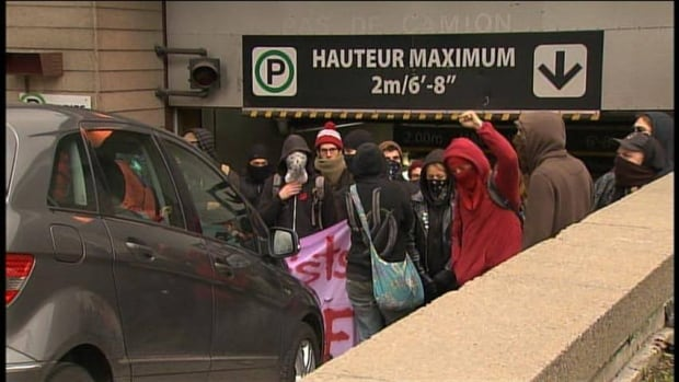 Students organized rotating protests across Montreal on Wednesday.