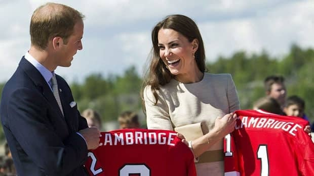 The Duke and Duchess of Cambridge laugh as they receive Team Canada hockey jerseys in Yellowknife on July 5, 2011, part of a plethora of gifts the royal couple received during their travels abroad.