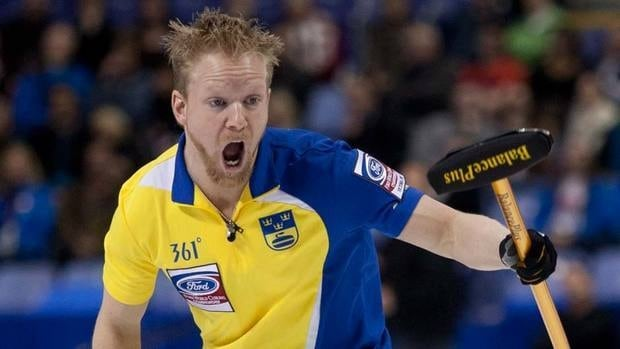 Sweden skip Niklas Edin puts a little extra into his shot as he scores two in the third end on the way to a victory over Canada and the World Men's Curling Championships on Sunday night.