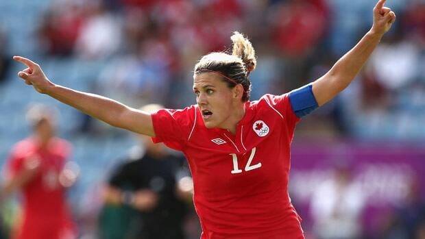 Christine Sinclair celebrates a goal for Canada at the London Olympics.