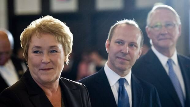 PQ leader Pauline Marois, seen here flanked by Montreal Board of Trade president Michel Leblanc (centre) and Montreal Mayor Gerald Tremblay at an August 28 speech in Montreal, is being urged by Quebec's business community to review her party's election promises.
