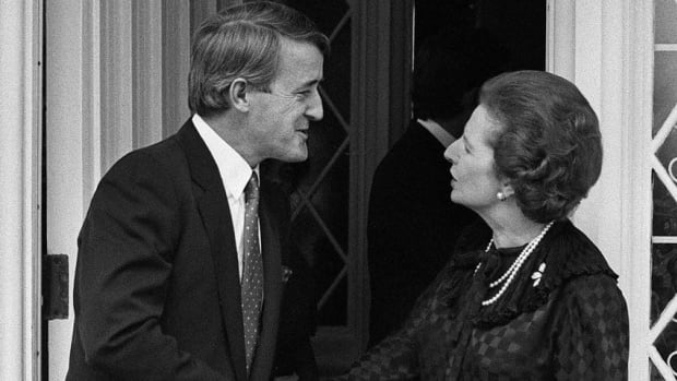 Then Canadian Opposition Leader Brian Mulroney shakes hands with British Prime Minister Margaret Thatcher at the British High Commissioner's residence in Ottawa on Sept. 26, 1983.