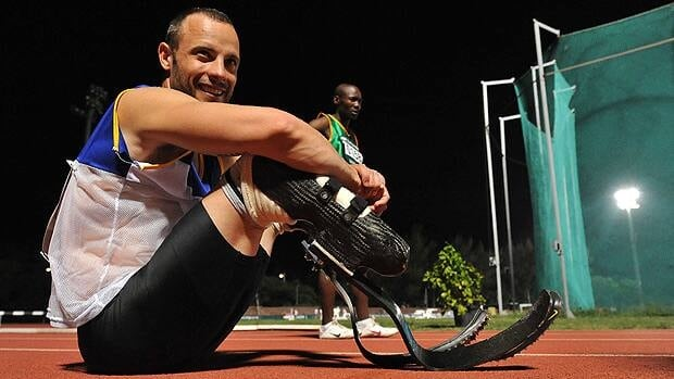 Oscar Pistorius looks on during day 3 of the 2012 Nedbank National Championships for the Physically Disabled.
