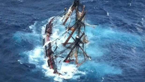 This photo provided by the U.S. Coast Guard shows the HMS Bounty submerged in the Atlantic Ocean during Hurricane Sandy, Oct. 29, 2012.