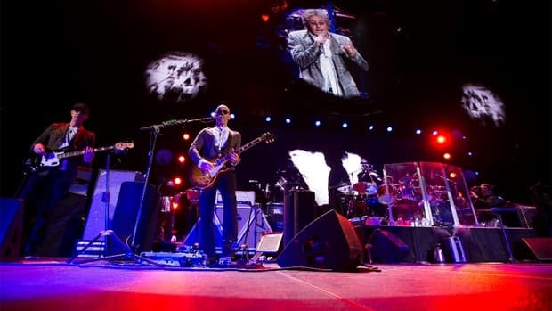 Pete Townshend's wind-milling and pulverizing power chords had the mixed crowd of young and old on their feet again and again.