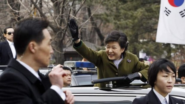 South Korea's new President Park Geun-hye leaves after her inauguration at parliament in Seoul. Park Geun-hye became the first female president of South Korea on Monday.