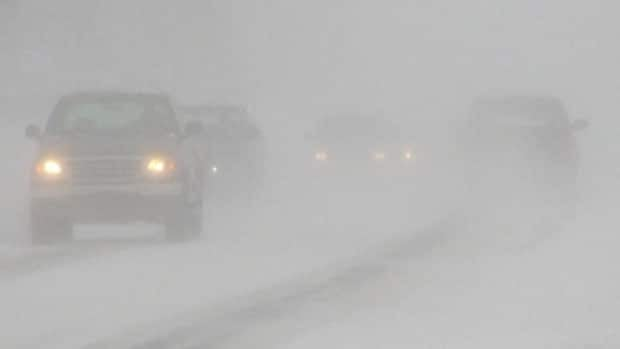 Snow and high winds created white-out conditions in Happy Valley-Goose Bay on Monday.