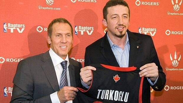 Bryan Colangelo is shown with free agent signing Hedo Turkoglu in July 2009, a move with much fanfare that didn't pan out for the Toronto Raptors.