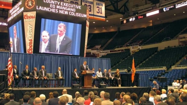 Nassau County Executive Edward Mangano speaks at a press conference on Friday at the Nassau Veterans Memorial Coliseum in Uniondale, N.Y. regarding a $229 million US arena renovation plan.