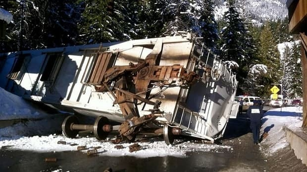 Highway 99 was closed by a train derailment about eight kilometres south of Pemberton, B.C., on Thursday afternoon