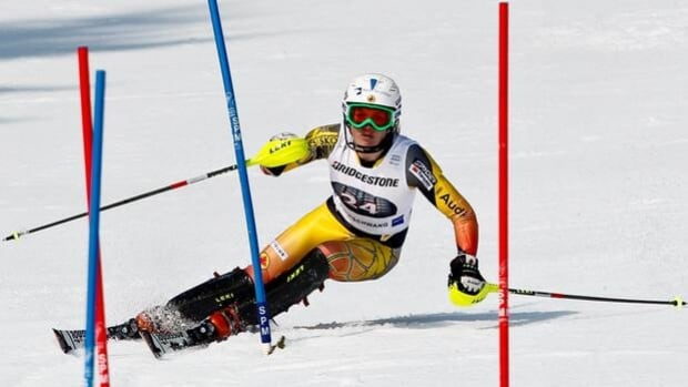 Erin Mielzynski skis to victory in a World Cup slalom in Ofterschwang, Germany, on March 4.