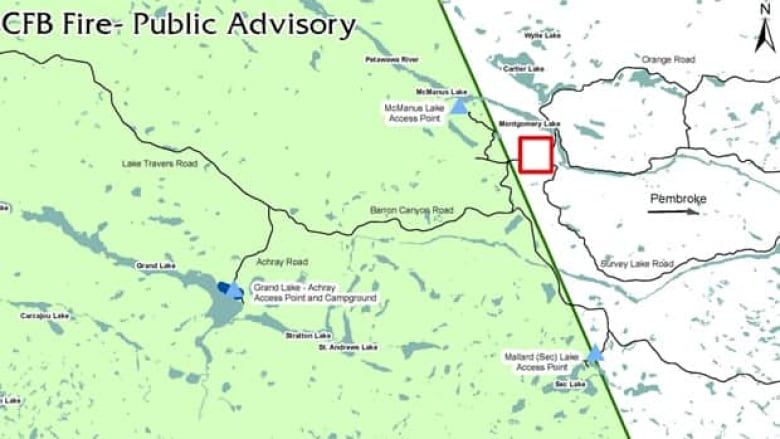 Grand Lake Fire Map.Fire Still Burning At Northeast Edge Of Algonquin Park Cbc News