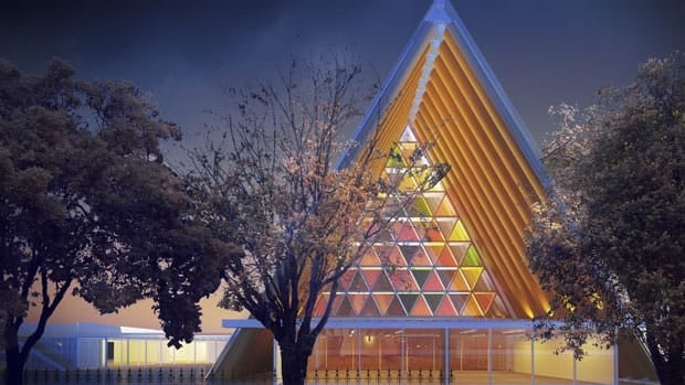 An artist rendering of the new cardboard cathedral in Christchurch, New Zealand, which uses 98 cardboard tubes for the sloped ceiling.