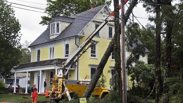 Workers remove a damaged tree in Mahone Bay, N.S. on Sept. 4, 2010 after hurricane Earl. Forecasters are predicting an average number of hurricanes this year.