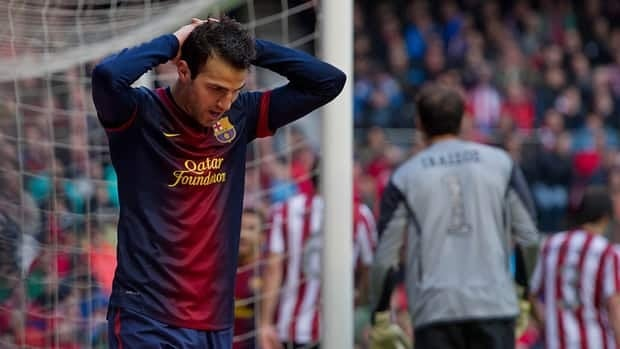 Barcelona's Cesc Fabregas reacts after failing to score against Athletic Bilbao.