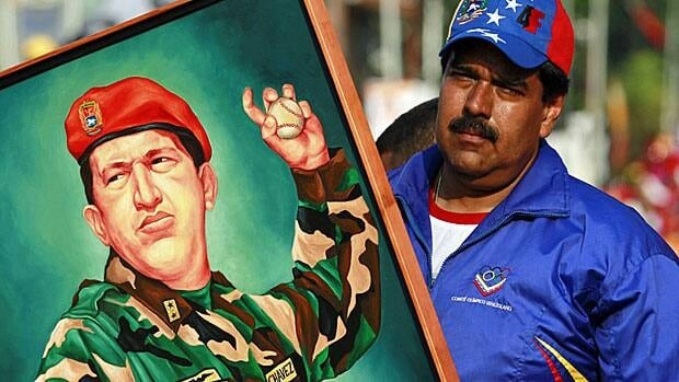 Venezuela's interim president Nicolas Maduro campaigns beside a picture of former leader Hugo Chavez throwing a baseball, his favourite pastime. In what might be a tighter than expected race, Maduro promised this week to hike Venezuela's minimum wage by 40 per cent if he is elected.