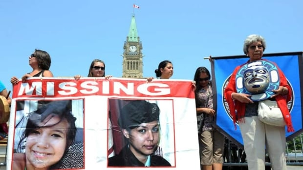 Participants of the Women's Worlds 2011 congress take part in a rally on Parliament Hill in solidarity with missing and murdered aboriginal women in Ottawa in 2011.