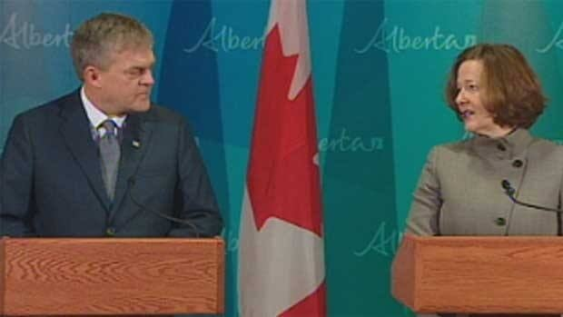 New Brunswick Premier David Alward and Alberta Premier Alison Redford held a joint news conference after meeting in Calgary on Tuesday.
