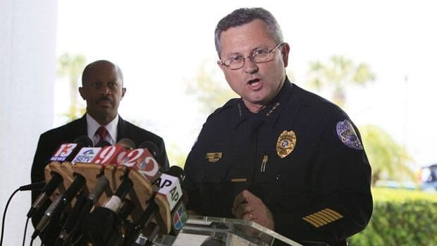 Sanford Police Chief Bill Lee, who was fired Wednesday in the wake of the fatal shooting of Trayvon Martin, speaks to the the media during a news conference in March.