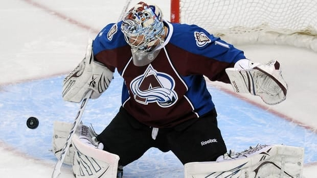 Colorado Avalanche goalie Semyon Varlamov makes a save in the first period against the Los Angeles Kings on Wednesday.