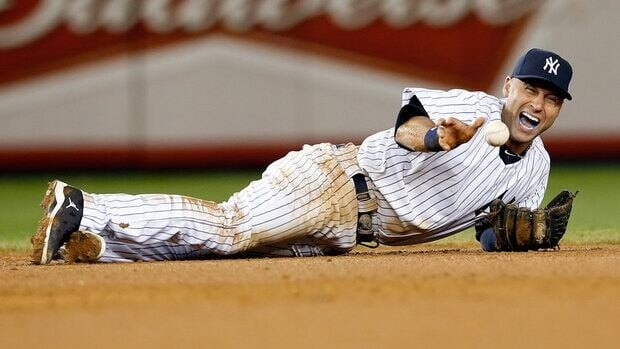 In this Oct. 13, 2012 file phot, New York Yankees shortstop Derek Jeter is shown screaming as he injures himself fielding a ball hit by Detroit Tigers' Jhonny Peralta during Game 1 of their ALCS playoff series.