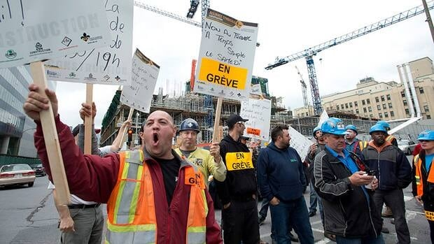 Talks broke down early Monday morning after a weekend negotiation blitz between the construction industry and the unions.