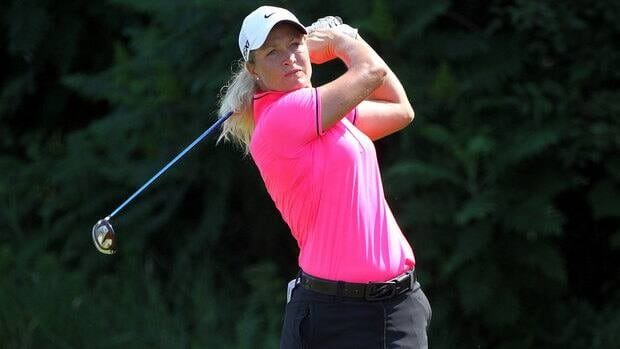Suzann Pettersen hits her tee shot on the par 4 14th hole during the second round of the U.S. Women's Open on Friday.