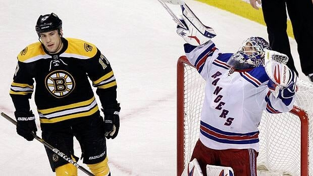 New York Rangers goalie Henrik Lundqvist celebrates after a shutout win over Milan Lucic and Boston in February.