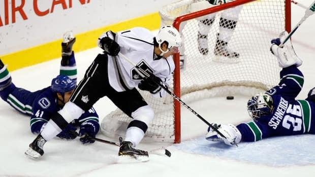 Jordan Nolan is shown scoring in a game against the Vancouver Canucks on March 2.