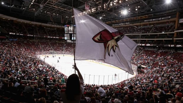 Fans take in a Phoenix Coyotes game against the San Jose Sharks at Jobing.com Arena on April 15.