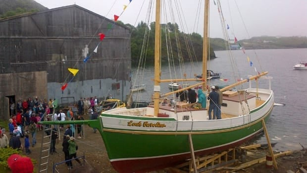 The Leah Caroline, a traditional Newfoundland schooner, launched on July 7, 2012 in Trinity, NL.