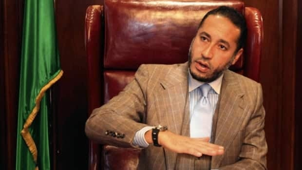 Saadi Gaddafi, seen here speaking at his office in Tripoli in January 2010, was offered a three-year contract at a $150,000 annual salary, according to a letter seized by the RCMP from SNC-Lavalin headquarters in 2012.