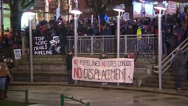 The pipeline hearings have drawn thousands of protesters at times, as occurred earlier this month in Vancouver.