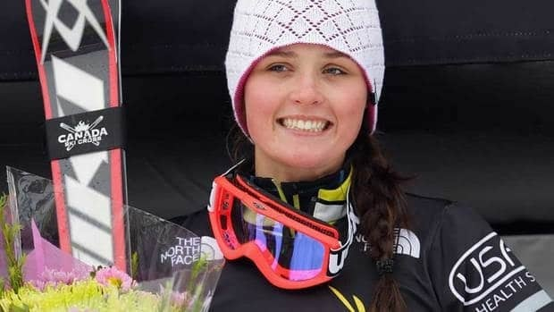 Canada's Marielle Thompson, seen on the podium after an event on Feb. 11, came in third in a World Cup ski cross race on Sunday.