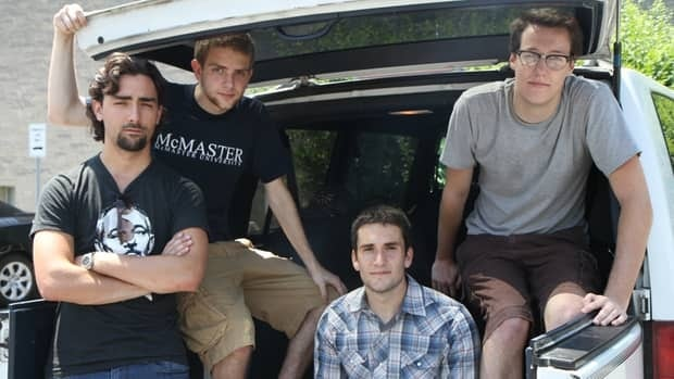 Of Gentleman and Coward's guitarist Christian Fedele, drummer Jake Warren, vocalist Simon Edwards and bassist Josh Dawson (left to right) in thier band van, the Millenium Falcon.
