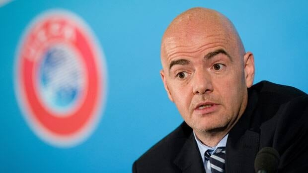 UEFA General Secretary Gianni Infantino speaks to members of the media during a press conference in central London on Thursday.