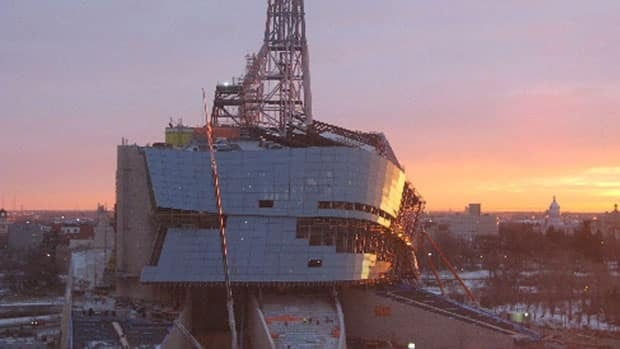 The Canadian Museum for Human Rights, seen under construction on Wednesday morning, is now scheduled to open in 2014.