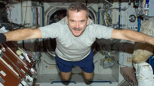 Chris Hadfield floats freely in the Unity node of the International Space Station on Dec. 31, 2012.