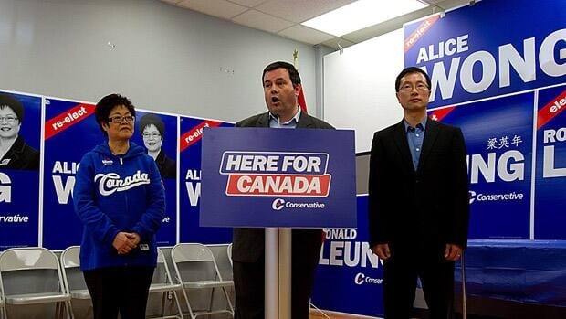 Immigration Minister Jason Kenney campaigns with Conservative candidates Alice Wong, left, and Ronald Leung, right, in Richmond, B.C. during the 2011 federal election.