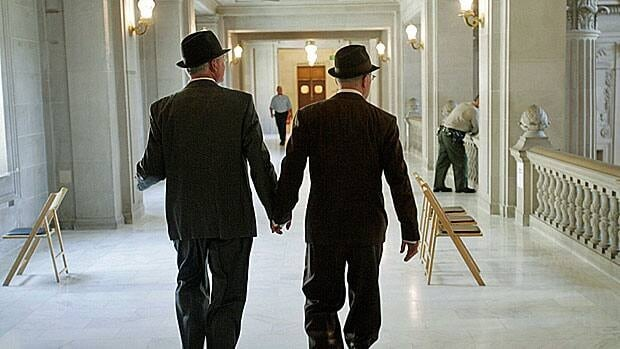 Two men seek a marriage licence at San Francisco City Hall in 2008, in the brief period before Proposition 8 took effect.