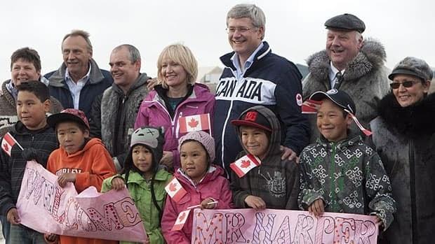 Prime Minister Stephen Harper and his wife Laureen were given a warm welcome by this crowd when they arrived in Cambridge Bay, Nunavut, on Wednesday.