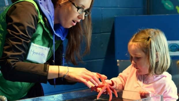 Sarah Best, 3, get a hands-on experience with local marine life at the Petty Harbour Mini Aquarium as Meredith Schofield demonstrates how to gently touch a northern sea star.