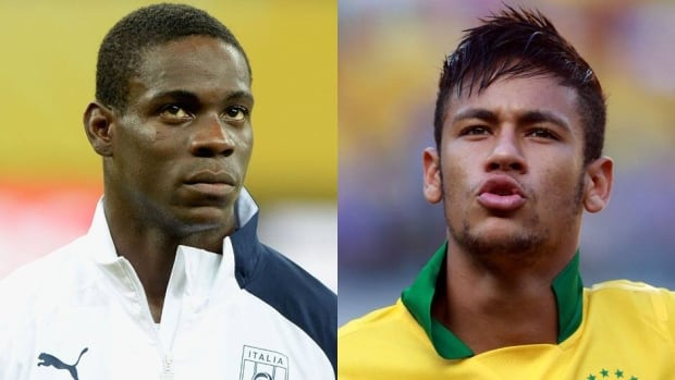 Italy's Mario Balotelli, left, and Brazil's Neymar are two of the brightest young stars in soccer.