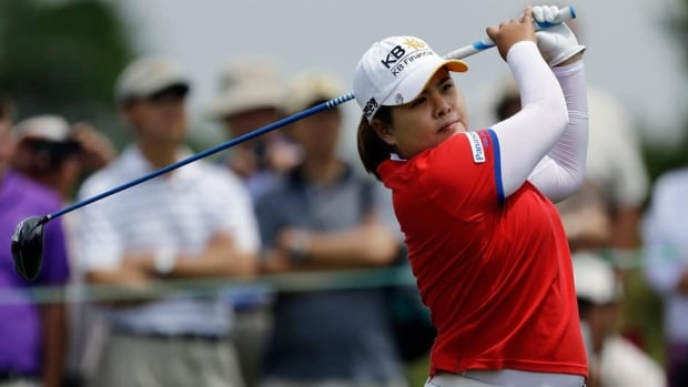 Inbee Park tees off on the first hole during the third round of the U.S. Women's Open at the Sebonack Golf Club Saturday in Southampton, N.Y.