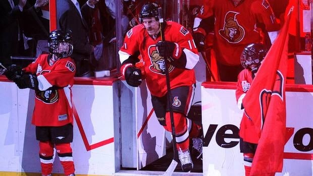 Ottawa Senators' right wing Daniel Alfredsson (11) steps on the ice before Game 6 against the New York Rangers in Kanata, Ont. on Monday.