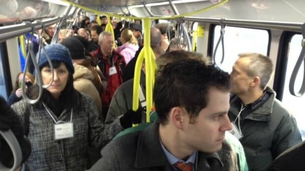 Commuters ride the packed West LRT line on Dec. 10, 2012.