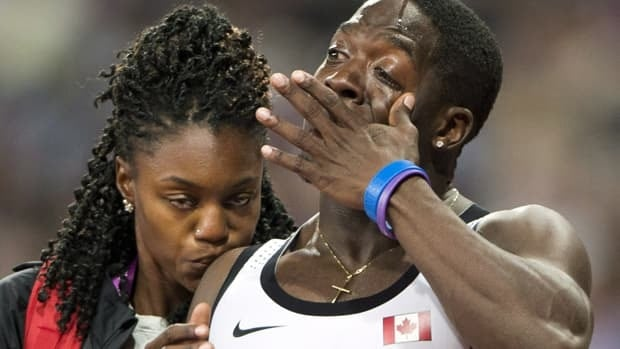 Canadian sprinter Justyn Warner after learning the 4 X 100 mens' relay team had been disqualified in London.
