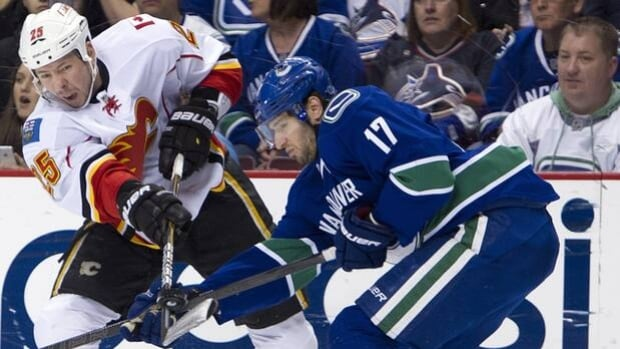 Tim Jackman (15) of the Flames is checked by Ryan Kesler in a 3-2 OT loss to the Canucks at the Rogers Arena on March 31.