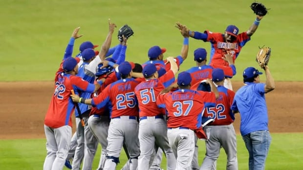 Dominican Republic players celebrate their 3-1 win over the United States in a second-round game of the World Baseball Classic in Miami on Thursday.
